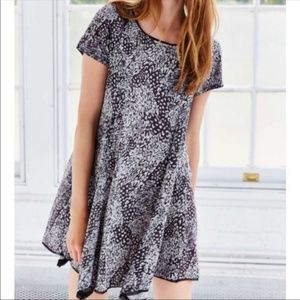 UO Silence & Noise Grey Swing Animal Print Dress